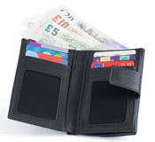 Geldanmerkungen und -gutschrift des britischen Sterling Lizenzfreie Stockbilder