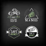 Geldausweis und Logodesign Zitattext Vektor mit Grafik Lizenzfreie Stockbilder