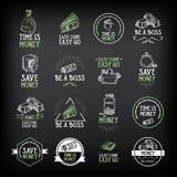 Geldausweis und Logodesign Zitattext Vektor mit Grafik Stockfotografie