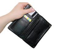 Geldbörse in der Hand Lizenzfreie Stockbilder