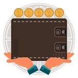 Geldbörse für Bargeld in der Hand, DollarGoldmünzen, Kugel lizenzfreie abbildung