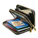 Geldbörse mit Dokumenten und Geld Lizenzfreie Stockbilder