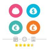 Geldbörse mit Dollar, Euroikonen Bargeldtaschenzeichen Stockfotografie