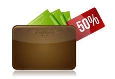 Geldbörse mit einem Prozentsatzrabattaufkleber Stockbild