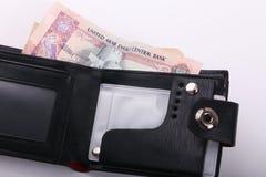 Geldbörse mit Emirat-Dirham lizenzfreie stockfotos