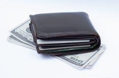 Geldbörse mit Kreditkarten und Bargeld stockbilder