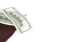 Geldbörse und amerikanisches Geld Stockbild