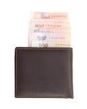 Geldbörse und Banknoten auf weißem Hintergrund Stockfotografie
