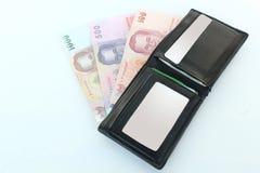 Geldbörse und Banknoten, (thailändisches Bad) Stockbild