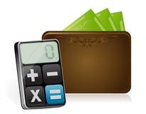 Geldbörse und moderner Taschenrechner Stockbild