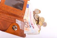 Geldbörsen-Euros lizenzfreie stockbilder