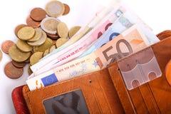 Geldbörsen-Euros lizenzfreie stockfotografie