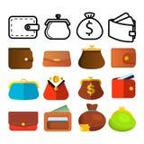 Geldbörsen-Ikonen-Satz-Vektor Runde bunte 11 Knöpfe Geldbeutel-Geldbörsen-Tasche Zahlungszeichen Finanzwährungs-Entwurf Finanzmar stock abbildung