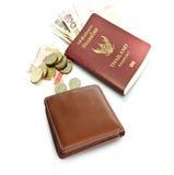 Geldbörsen-, Thailand-Pass, thailändische Banknote und Münze Stockbild