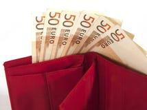Geldbeurs met euro bankbiljetten Stock Foto's