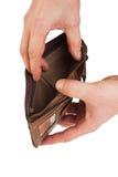 Geldbeutel in der Hand lizenzfreies stockbild