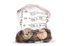 Geldbeutel der Pennysmünzen des Sterling Zwanzig Lizenzfreies Stockbild