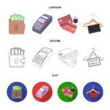 Geldbeutel, Geld, Note, Aufhänger und andere Ausrüstung Gesetzte Sammlungsikonen des elektronischen Geschäftsverkehrs in der Kari Stock Abbildung