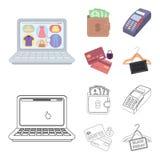 Geldbeutel, Geld, Note, Aufhänger und andere Ausrüstung Gesetzte Sammlungsikonen des elektronischen Geschäftsverkehrs in der Kari Vektor Abbildung
