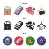 Geldbeutel, Geld, Note, Aufhänger und andere Ausrüstung Gesetzte Sammlungsikonen des elektronischen Geschäftsverkehrs in der Kari Lizenzfreie Abbildung