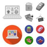Geldbeutel, Geld, Note, Aufhänger und andere Ausrüstung Gesetzte Sammlungsikonen des elektronischen Geschäftsverkehrs im einfarbi Lizenzfreie Abbildung