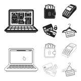 Geldbeutel, Geld, Note, Aufhänger und andere Ausrüstung Gesetzte Sammlungsikonen des elektronischen Geschäftsverkehrs im Schwarze Vektor Abbildung
