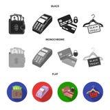 Geldbeutel, Geld, Note, Aufhänger und andere Ausrüstung Gesetzte Sammlungsikonen des elektronischen Geschäftsverkehrs im schwarze Stock Abbildung