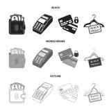 Geldbeutel, Geld, Note, Aufhänger und andere Ausrüstung Gesetzte Sammlungsikonen des elektronischen Geschäftsverkehrs in Schwarze Lizenzfreie Abbildung