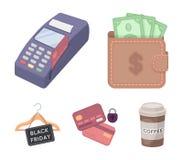 Geldbeutel, Geld, Note, Aufhänger und andere Ausrüstung Vector gesetzte Sammlungsikonen des elektronischen Geschäftsverkehrs in d Stockbild