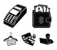 Geldbeutel, Geld, Note, Aufhänger und andere Ausrüstung Vector gesetzte Sammlungsikonen des elektronischen Geschäftsverkehrs in d Lizenzfreie Stockfotos
