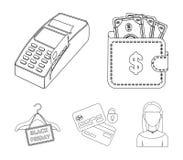 Geldbeutel, Geld, Note, Aufhänger und andere Ausrüstung Vector gesetzte Sammlungsikonen des elektronischen Geschäftsverkehrs in d Stockbilder