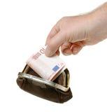 Geldbeutel mit Banknote und der Hand Lizenzfreies Stockbild