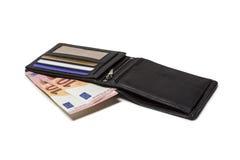 Geldbeutel mit neuen 10-Euro - Scheinen Stockbild