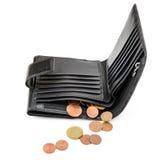 Geldbeutel und Eurocents Lizenzfreie Stockfotos