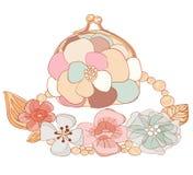 Geldbeutel und Halskette in den Pastellfarben Stockbild
