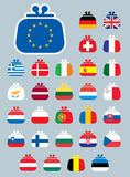 Geldbeutelflaggen-Euroikonen Lizenzfreies Stockfoto