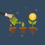 Geldboom, de Financiële Vectorillustratie van het de Groei Vlakke Concept royalty-vrije illustratie