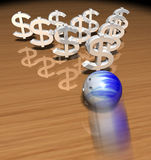Geldbowlingspiel Lizenzfreie Stockfotografie