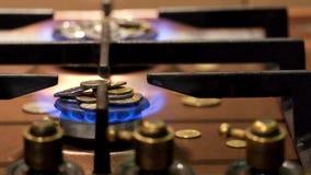 Geldbrand in der blauen Flamme eines Gasbrenners Wie viel Gas ist Gastarife stock video footage