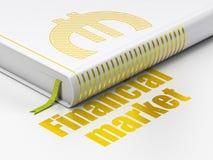 Geldconcept: boek Euro, Financiële Markt op witte achtergrond Royalty-vrije Stock Foto's