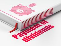 Geldconcept: boekSpaarpot met Muntstuk, Betaling van Dividenden op witte achtergrond Royalty-vrije Stock Afbeelding