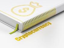 Geldconcept: de Zak van het boekgeld, Cryptocurrency op witte achtergrond Stock Afbeelding