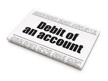 Geldconcept: het Debet van de krantenkrantekop van een rekening Stock Foto