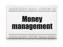 Geldconcept: het Geldbeheer van de krantenkrantekop Royalty-vrije Stock Afbeeldingen