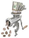Geldconcept met gehaktmolen Royalty-vrije Stock Foto