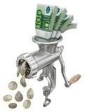 Geldconcept met gehaktmolen Stock Fotografie