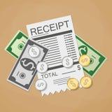 Geldcontant geld en ontvangstbewijs vector illustratie