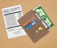 Geldcontant geld en ontvangstbewijs Stock Afbeelding