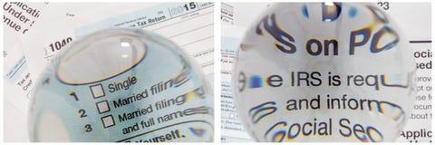 Gelddispositionscollage IRS 1040 Archivierungs Stockfoto