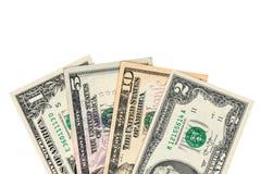 Gelddollar auf einem Weiß Stockfotos
